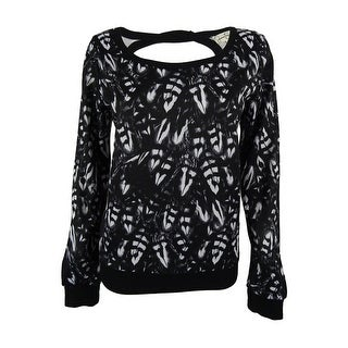 Jessica Simpson Women's Cut Out Back Sweatshirt - graphic feather