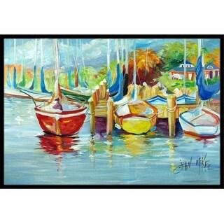 Carolines Treasures JMK1070JMAT On The Dock Sailboats Indoor & Outdoor Mat 24 x 36 in.
