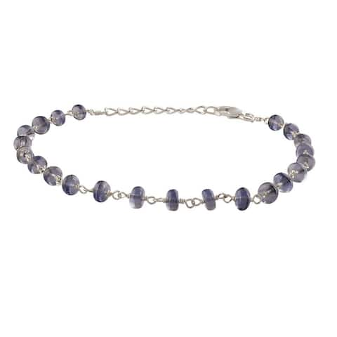 Evaluesell Handmade Sterling Silver Iolite Gemstone Beaded Bracelet - 9-11 carats