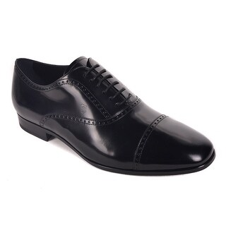 Tod's Solid Black Polished Leather Brogue Derby Lace Up Shoe
