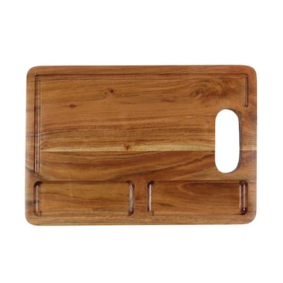 Oussum Cutting Board Wooden Chopping Board for Kitchen Acacia Wood Board with Handle Juice Groove Durable for Meat Serving Large