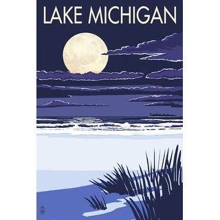 Lake Michigan - Full Moon Night Scene - Lantern Press Artwork (Playing Card Deck - 52 Card Poker Size with Jokers)