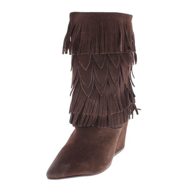 Mojo Moxy Womens Wicken Mid-Calf Boots Suede Fringe