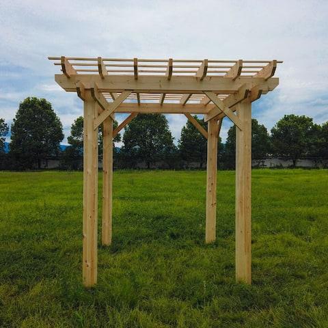 ALEKO Premium Outdoor Wooden Arbor Topped Pergola - 8 x 8 Feet