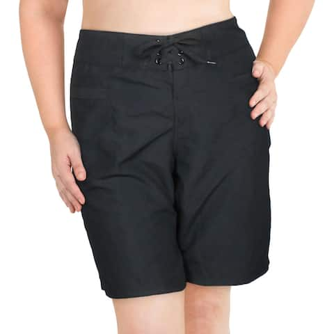 Island Escape Womens Lace-Up Shorts Swim Bottom Separates - Black