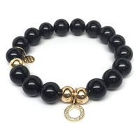 "Black Onyx Circle Charm 7"" Bracelet"