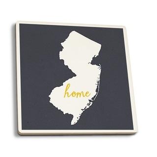 NJ - Home State - White on Gray - LP Artwork (Set of 4 Ceramic Coasters)