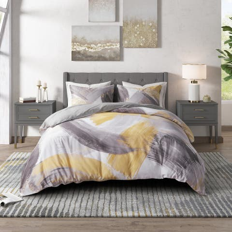 CosmoLiving Andie Grey/ Yellow Cotton Printed Comforter Set