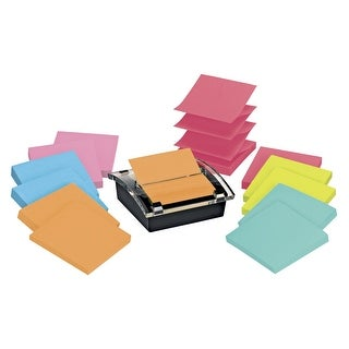 Post-it Pop-Up Super Sticky Notes Dispenser Value Pack, 3 x 3 in, Assorted Colors, Pad of 90 Sheets, Pack of 12, 1 dispenser