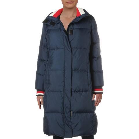 Tommy Hilfiger Women's Petunia Midi Down Magnetic Zipper Winter Puffer Coat - Navy - M