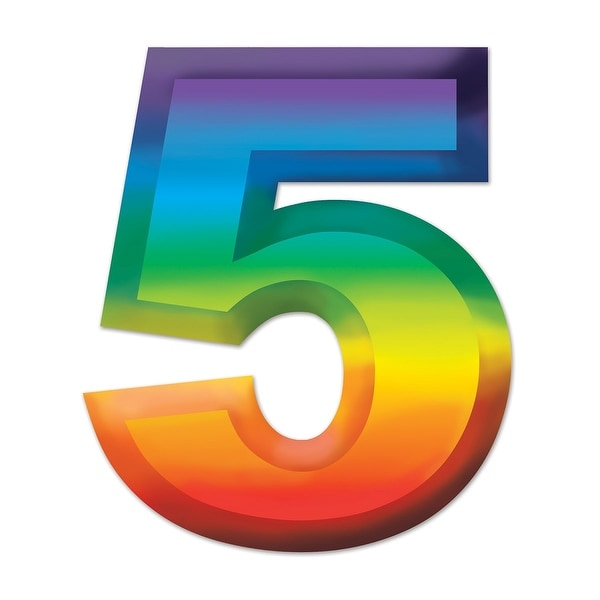 Shop Club Pack Of 24 Bright Rainbow 3 D Number 5 Party Decorations 11