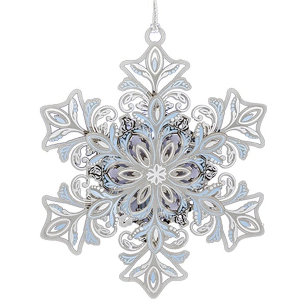 "3.5"" Silver and Blue LED lighted Glowing Christmas Snowflake Ornament"