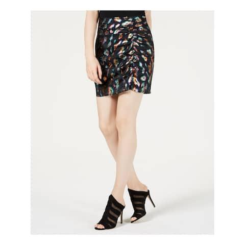GUESS Womens Black Metallic Animal Print Mini Party Skirt Size: 8