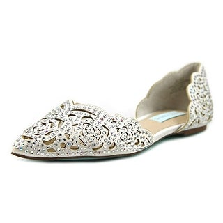 Betsey Johnson Lucy Women  Pointed Toe Canvas Ivory Flats