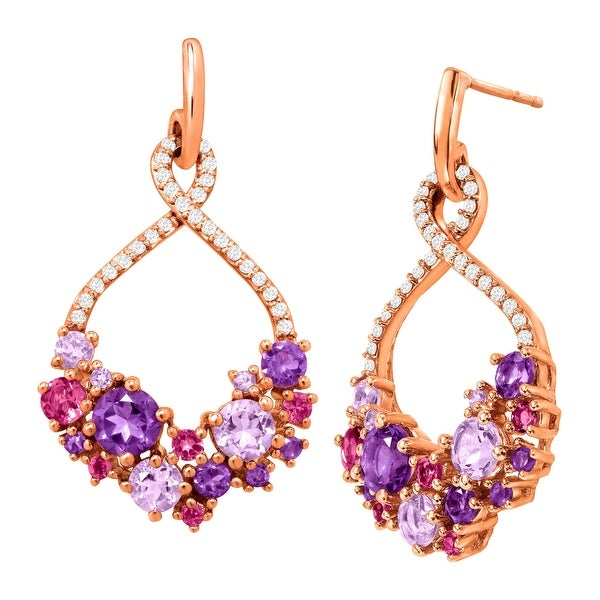 2 7/8 ct Natural Amethyst & Pink Tourmaline Drop Earrings in 18K Rose Gold-Plated Sterling Silver