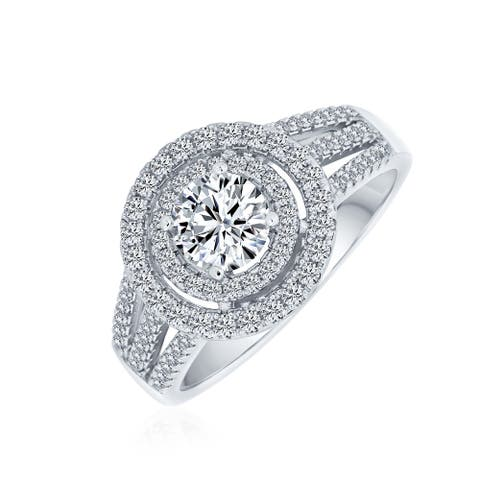 1CT Double Halo AAA CZ Solitaire Engagement Ring 925 Sterling Silver