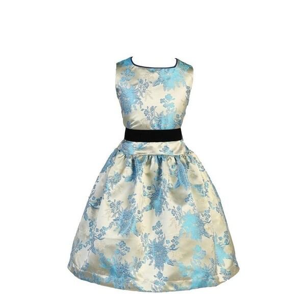 3592d005f Angels Garment Girls Velvet Ribbon Jacquard Ivory Blue Christmas Dress 5-10