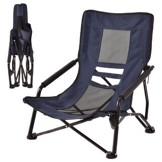 Costway Outdoor High Back Folding Beach Chair Camping Furniture Portable Mesh Seat Navy