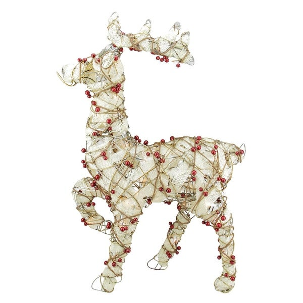 "28"" Lighted Standing Burlap and Berry Rattan Reindeer Christmas Outdoor Decoration - brown"