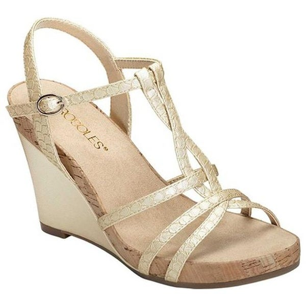 f8bb54accc Aerosoles Women's Plush Song Wedge Sandal Gold Snake Embossed Faux  Leather