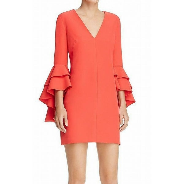 Shop Milly Fire Red Womens Size 4 Double Ruffle Bell Sleeve Shift Dress -  Free Shipping Today - Overstock.com - 27315888 ef5619ffb1