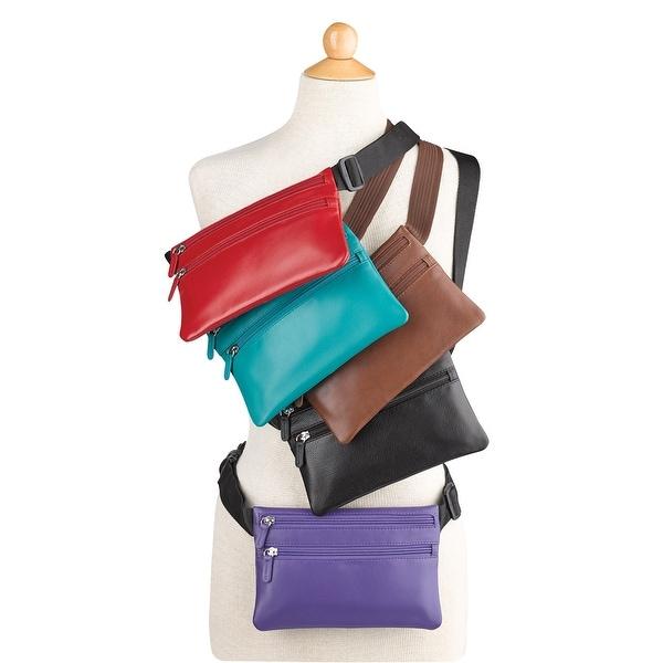 d2f751795c51 Shop ILI Women's Leather Waist Pack Fanny Pack - Crossbody Purse Bag ...