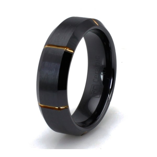 Grooved Gold Plated Black Ceramic Ring with Beveled Edge