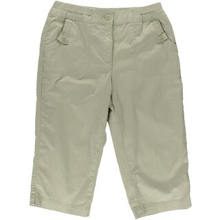 Karen Scott Womens Flat Front Solid Khaki Pants - 8