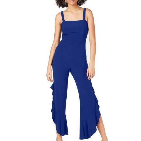 INC Women's Jumpsuit Cobalt Blue Size 10 Wide Asymmetric Leg Tank