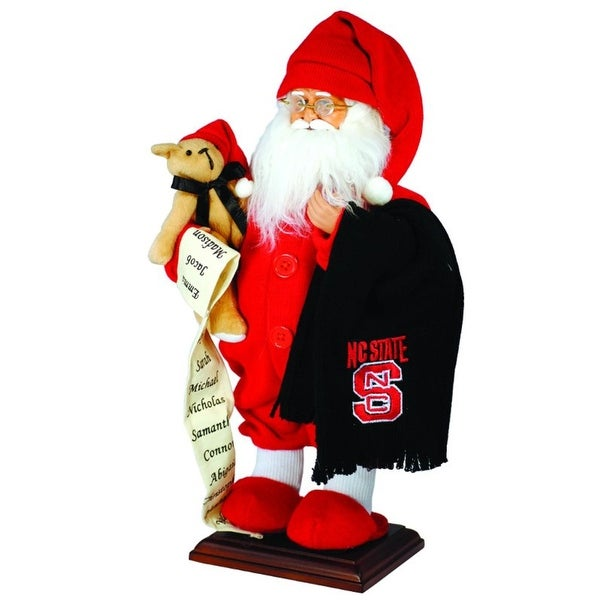 "15"" NCAA NC State Wolfpack Pajama Santa Claus Table Top Christmas Decoration - RED"
