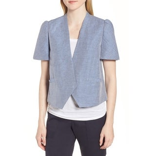 Nordstrom Signature Blue Womens Size Large L Puff Sleeve Jacket
