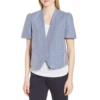 Nordstrom Signature Blue Womens Size Small S Puff Sleeve Jacket