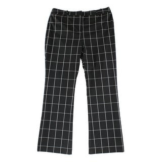 Alfani NEW Black White Womens Size 8 Plaid Wide-Leg Trouser Dress Pants