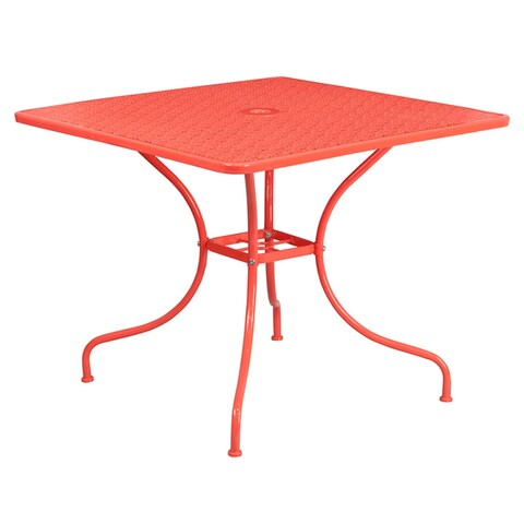 Offex 35.5'' Square Coral Indoor-Outdoor Steel Patio Table
