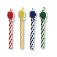 Candy Striped Balloon Shaped Birthday Candles Multi Colors 8 Pack