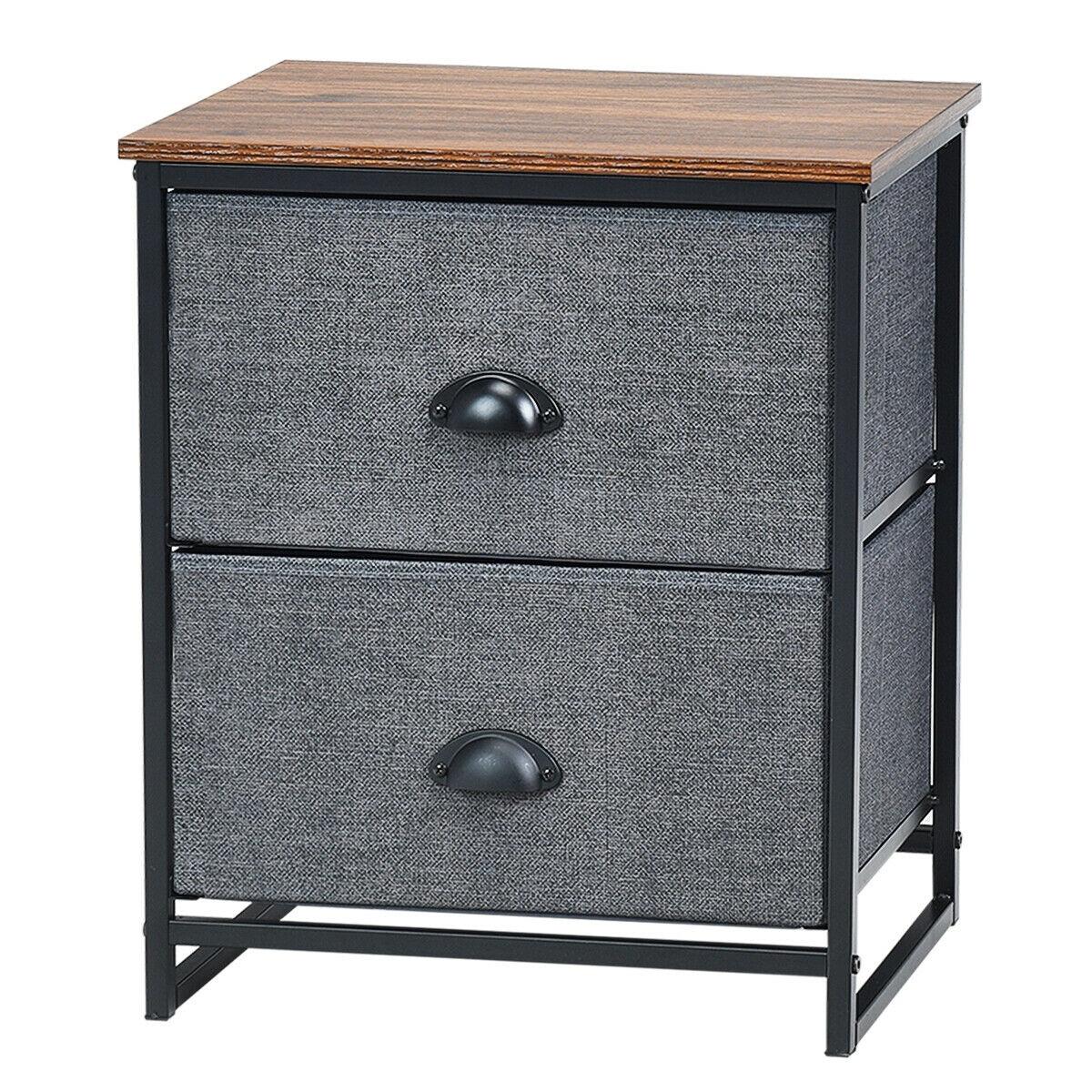 Gymax 2 Drawers Nightstand Side Table Storage Unit Display Metal Frame Dorm Room Black