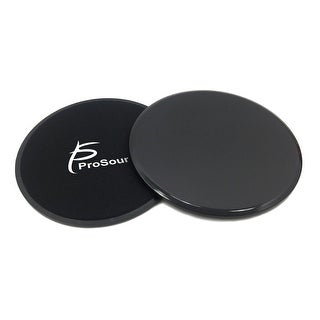 ProsourceFit Core Sliding Exercise Discs, Dual-Sided Sliders for Full-Body Workouts, Set of 2-Black