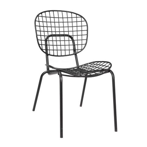 Somette Black Powder Coat Finish Accent Chair