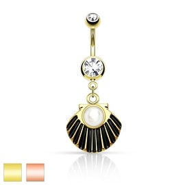 Pearl Centered Sea Shell Dangle Gold IP Surgical Steel Belly Button Ring (Sold Individually)