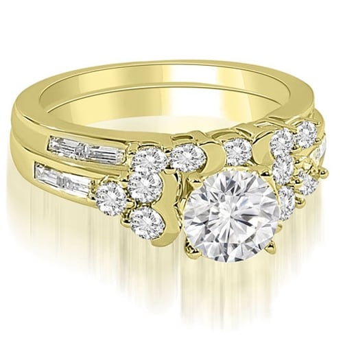 1.75 cttw. 14K Yellow Gold Round And Baguette Cut Cluster Diamond Bridal Set