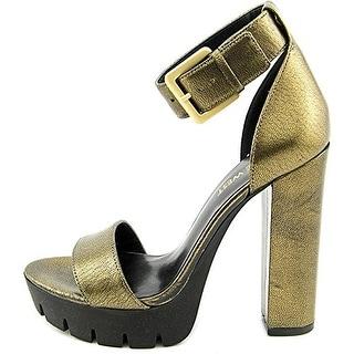 Nine West Women's Indira Open Toe Leather Platform Sandal
