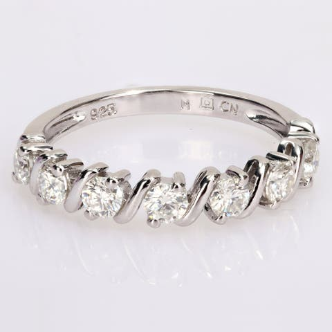 Miadora 3/4ct DEW Moissanite Semi-Eternity Wedding Band Ring in Sterling Silver
