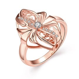 Abstract Rose Gold Floral Petal Ring