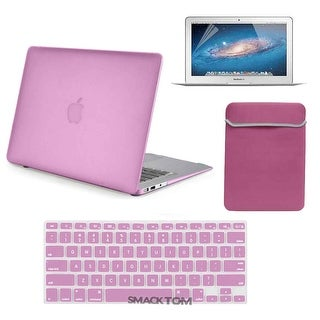 "4 In 1 Rubberized Hard Shell Case Key Skin LCD Guard Sleeve for Apple Macbook Air 13""_Pink"