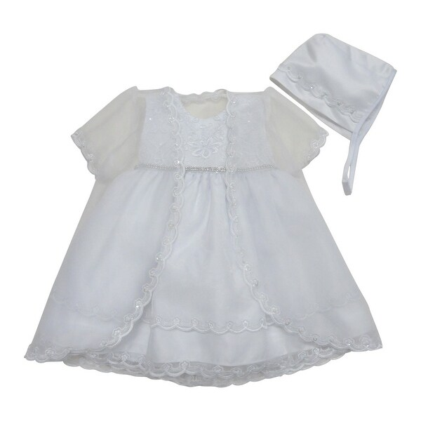 Baby Girls White Satin Scalloped Organza Jacket Bonnet Christening Gown - 12 months