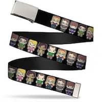 Blank Chrome  Buckle Big Bang Theory Chibi Characters Black Webbing Web Belt