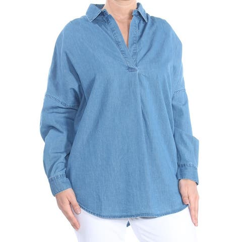 FRENCH CONNECTION Womens Blue Cuffed Collared Blouse Evening Top Size: L