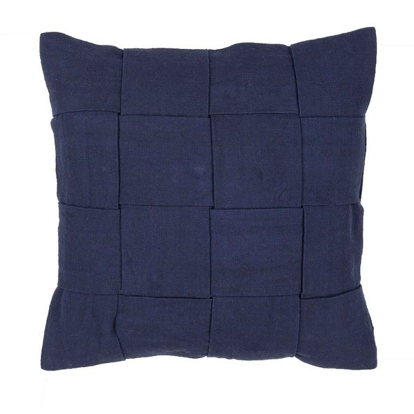 "18"" Navy Blue Wide Woven Pattern Decorative Throw Pillow"