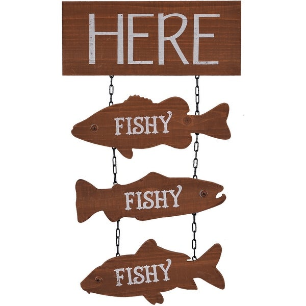 "19.69"" Brown and White Hanging Fish Designed Wall Sign - N/A"