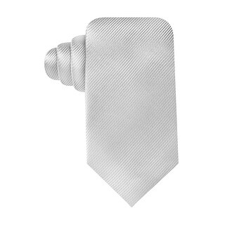 Geoffrey Beene Hand Made Solid Stripe Core Classic Necktie White Tie - One Size Fits most